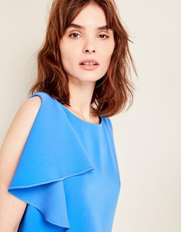 Blue asymmetric dress with flounce