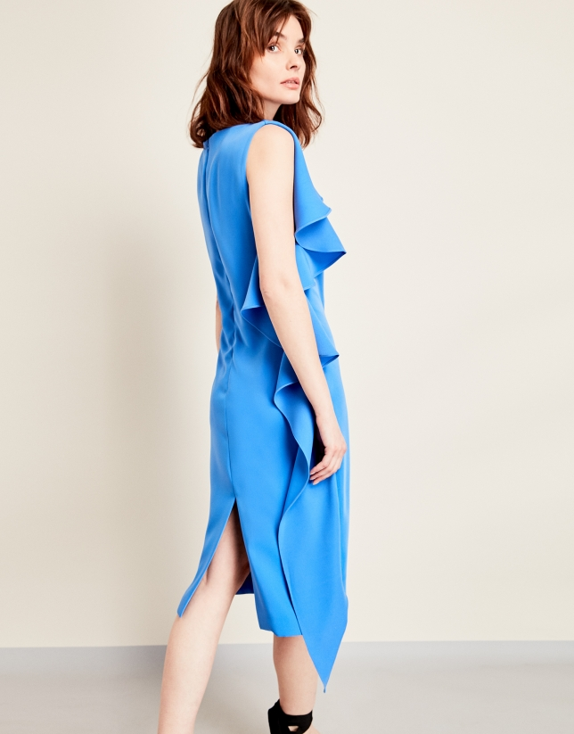 Vestido volante asimétrico azul