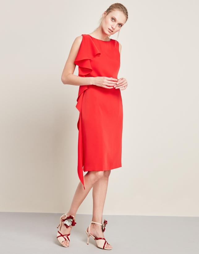 Vestido volante asimétrico rojo