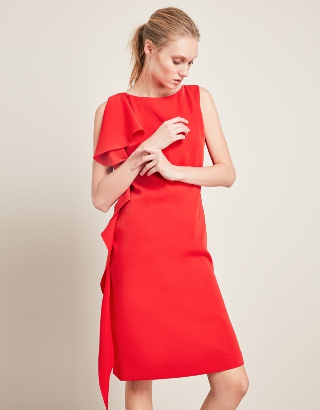 Red asymmetric dress with flounce