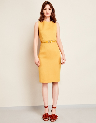 Yellow pique dress with belt