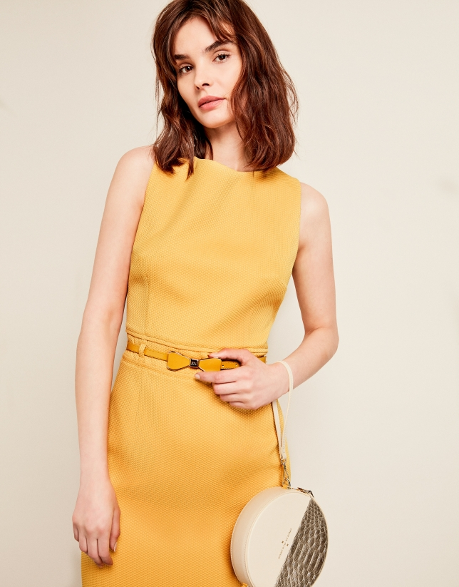 Yellow pique dress with belt