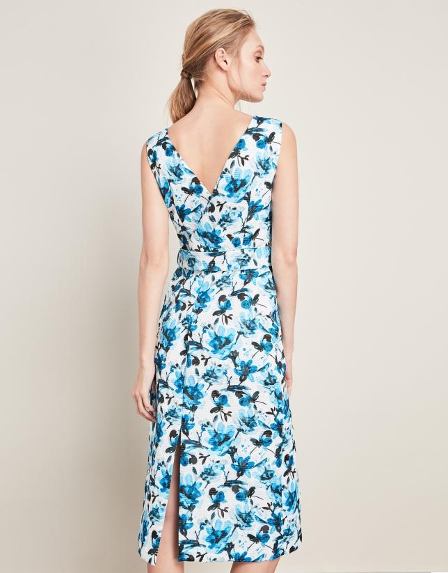 Vestido cruzado estampado acuarelado azul