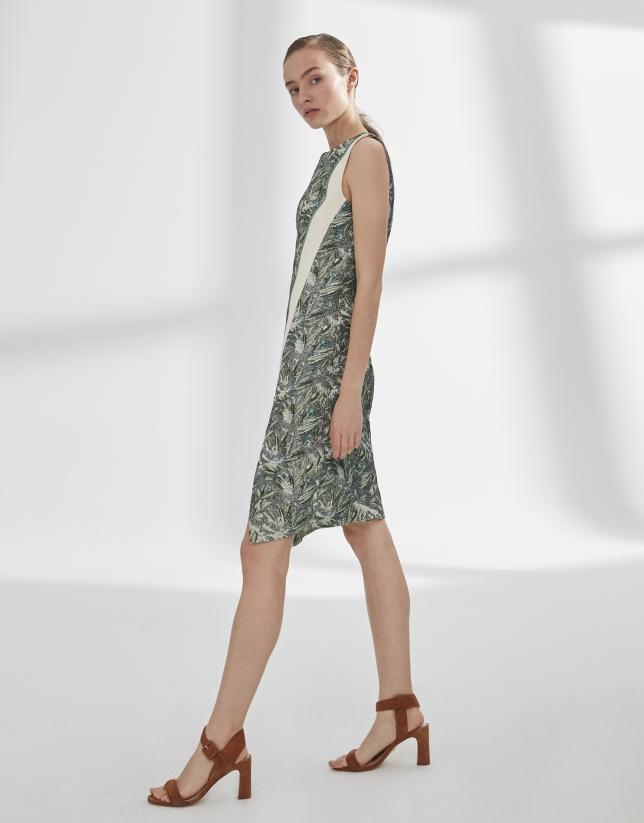 Vestido estampado verde línea oblicua