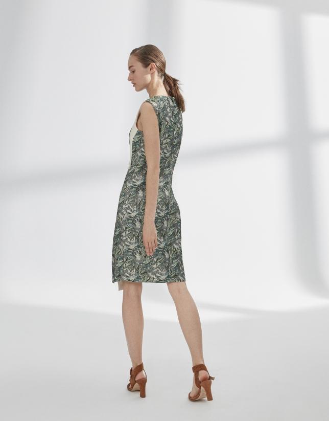 Green slanted print dress