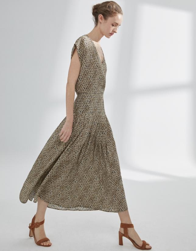 Vestido estampado geométrico ocre