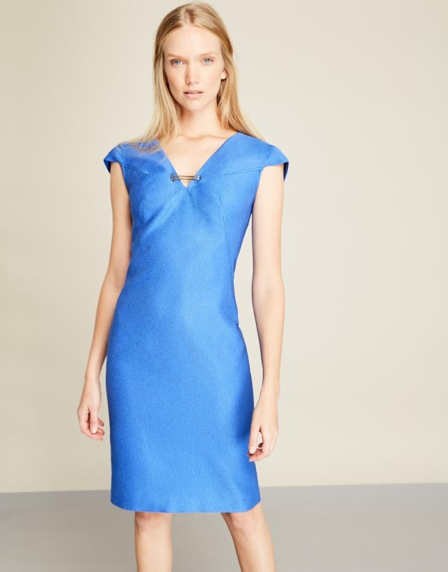 Vestido jacquard azul