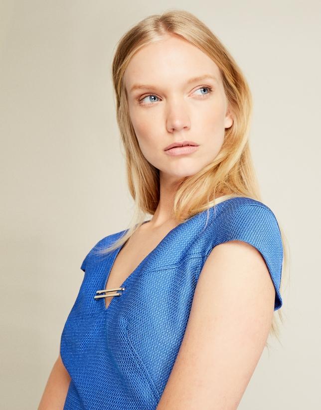 Blue jacquard dress
