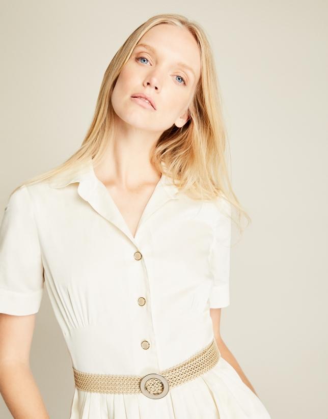 White gathered shirtwaist dress
