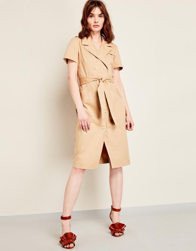 Mink-colored, elastic cotton, shirtwaist dress