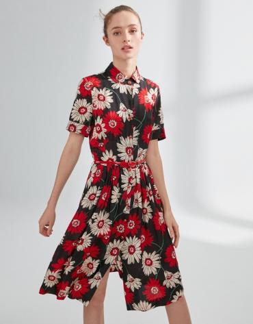 Print shirtwaist dress with gathered front