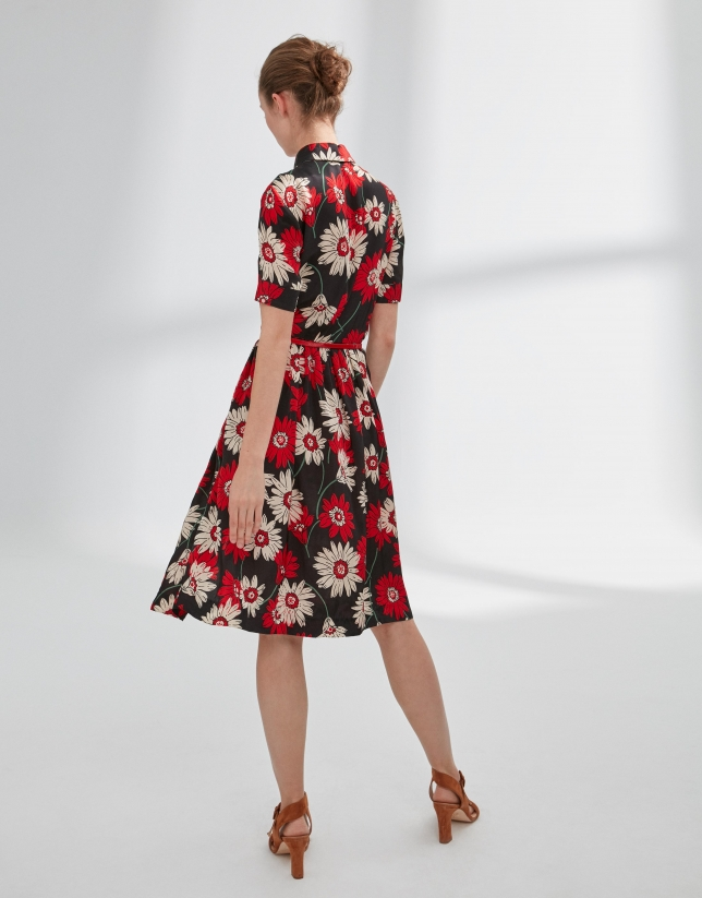 Print shirtwaist dress with gathered front