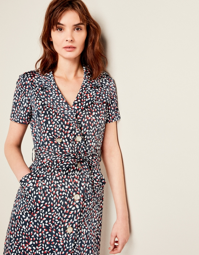 Print elastic cotton shirtwaist dress