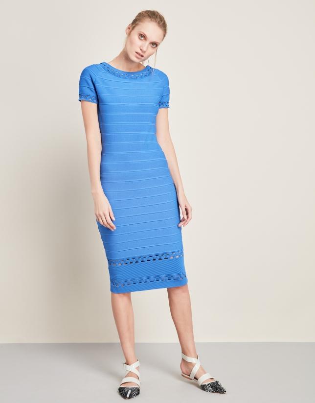 Vestido de punto largo midi azul