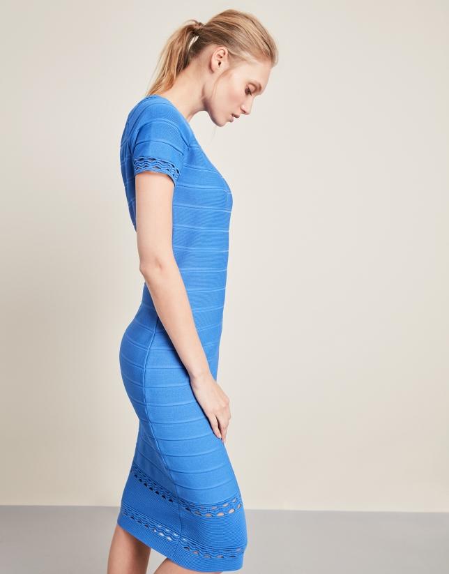 Blue mid-length knit dress