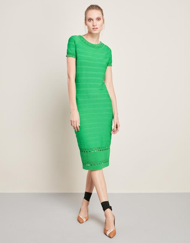 Vestido de punto largo midi verde