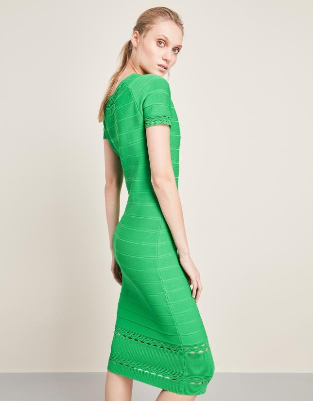 8bd483523ee Vestido de punto largo midi verde - Mujer | Roberto Verino