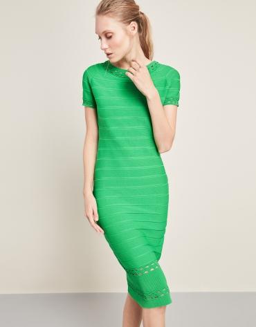 Robe en maille longueur midi verte