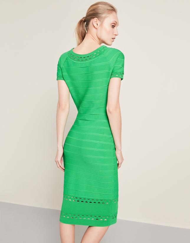 Green mid-length knit dress
