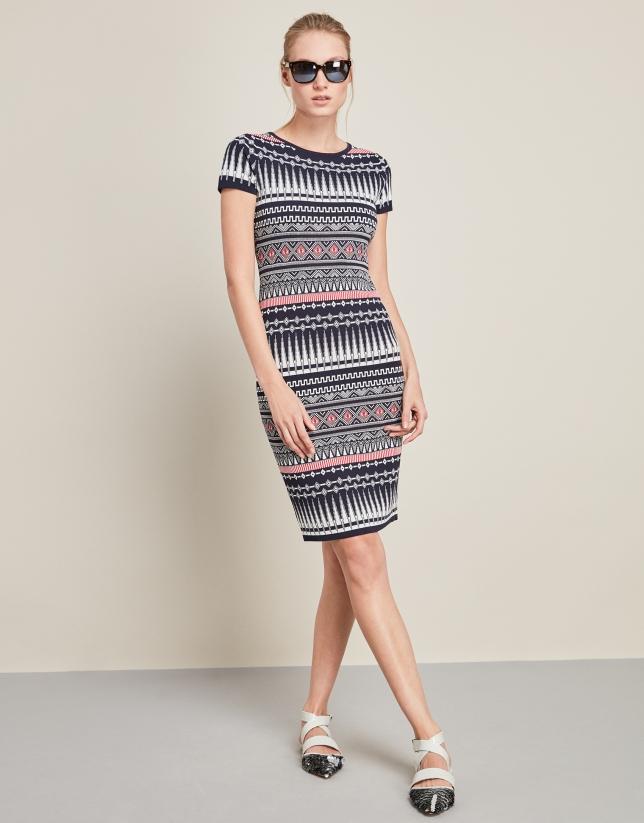 Blue geometric print dress