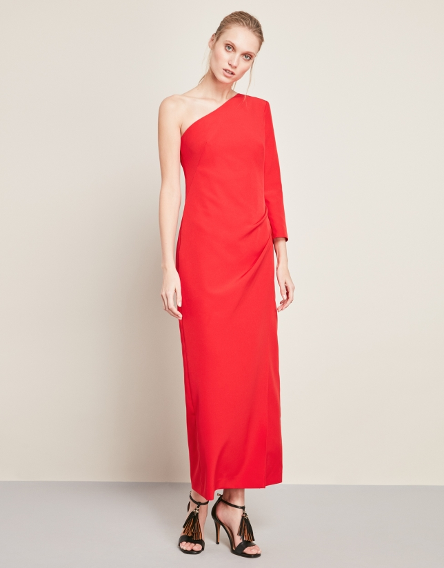4b610c47b Vestido largo rojo asimétrico - Mujer - PV2018