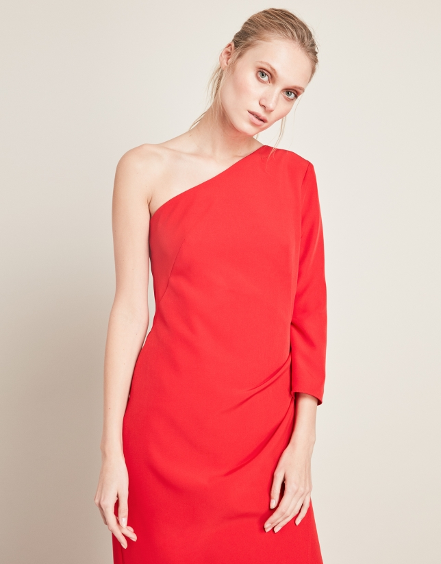Long red asymmetric dress