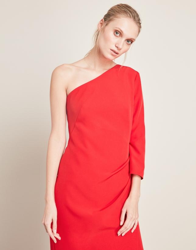 Vestido largo rojo asimétrico
