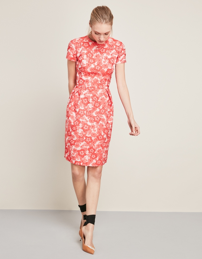 Jacquard dress with red flowers