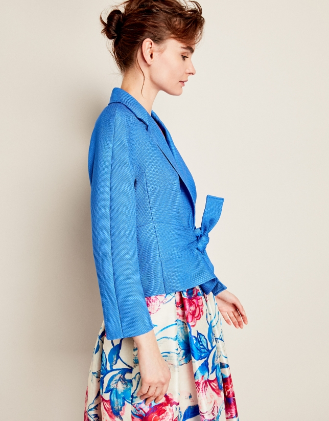 Blue jacket with bow