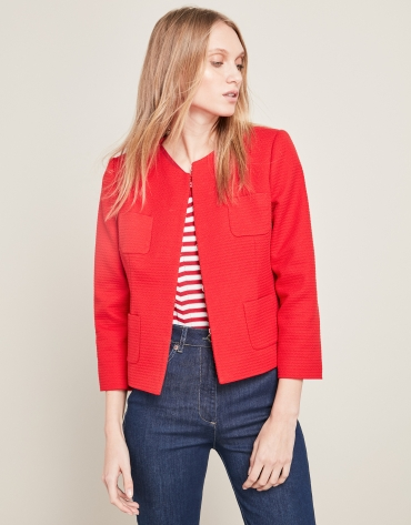 Veste courte rouge à poches