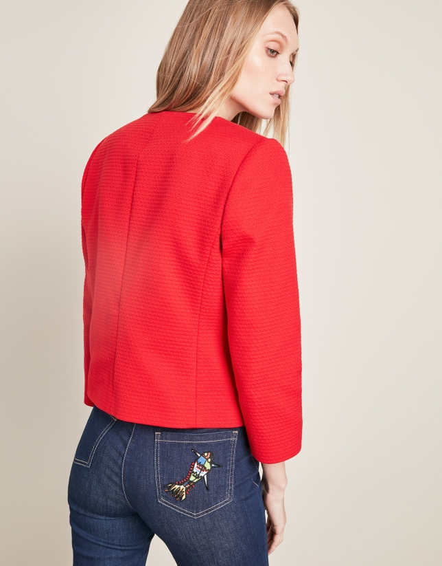 Red short jacket with pockets