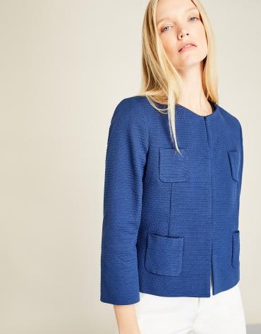 Blue short jacket with pockets