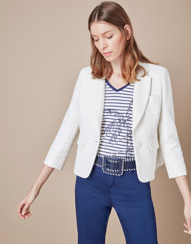 Short beige suit jacket