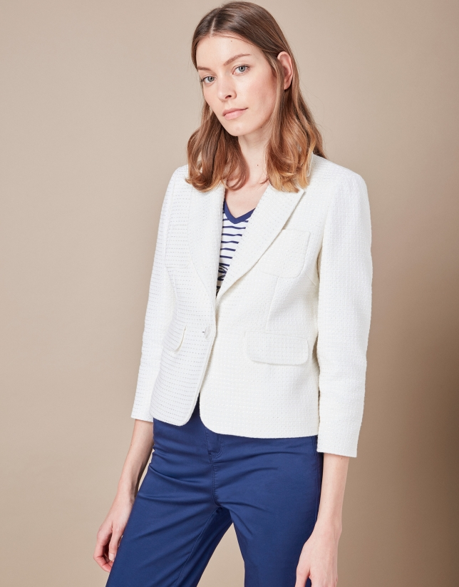 Short beige suit jacket