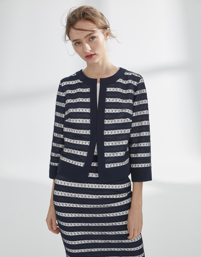 Navy blue short jacket with lace