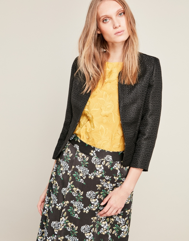 Short black jacquard jacket