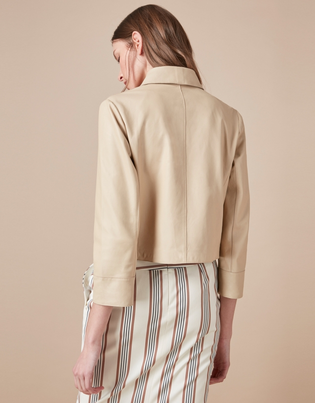 Beige leather windbreaker