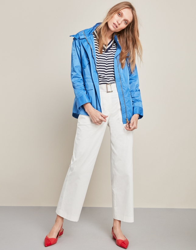 Blue parka with pockets