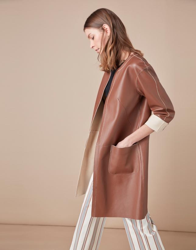Manteau en cuir nappa couleur café