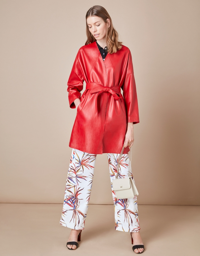 Manteau en cuir nappa croisé rouge