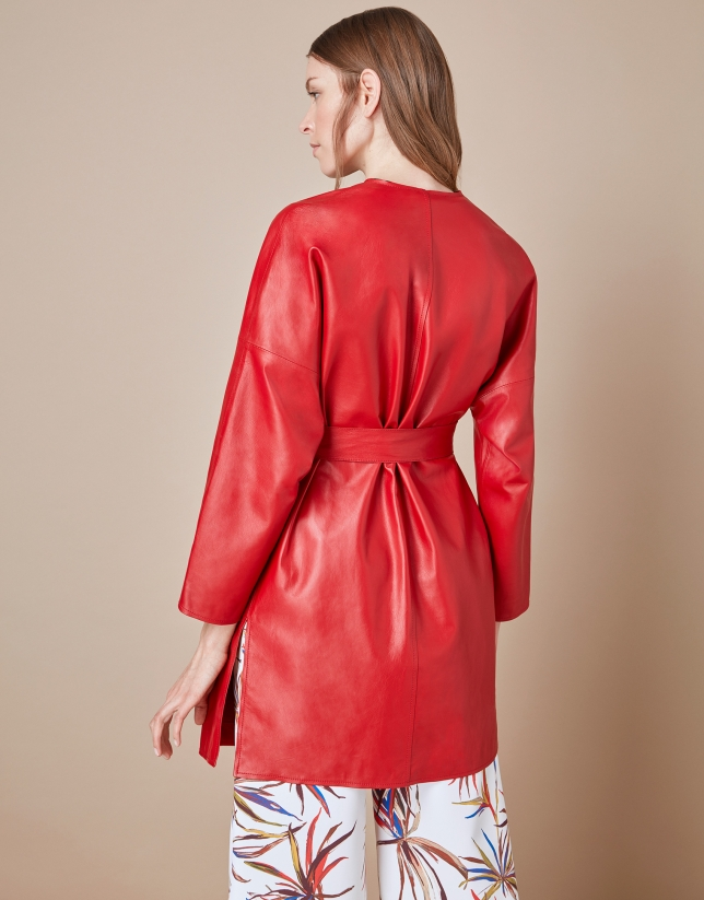 Red napa double-breasted coat