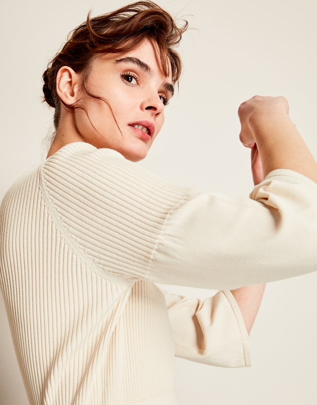 Beige double-breasted cardigan