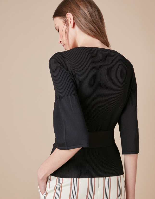 Black double-breasted cardigan