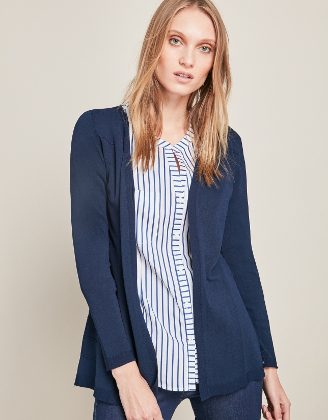 Blue structured cardigan