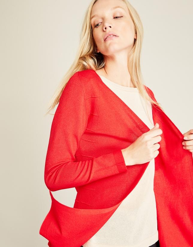 Cardigan structuré rouge