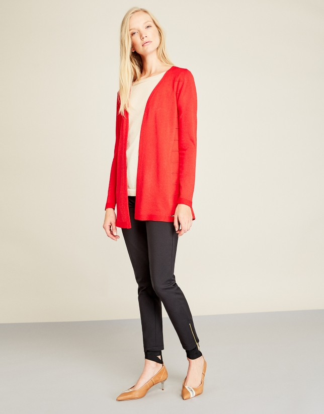 Red structured cardigan