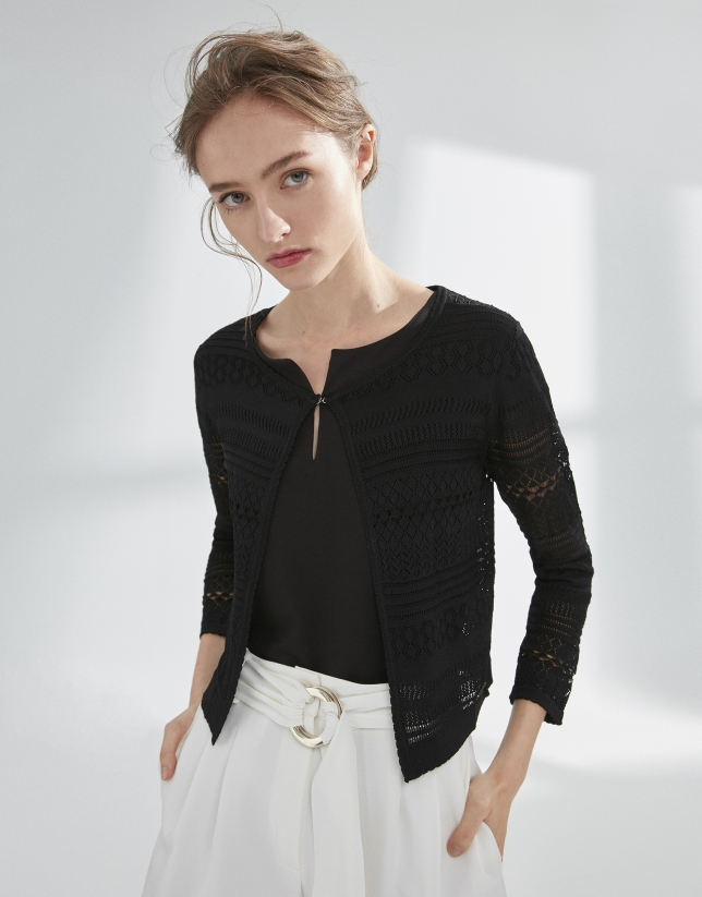 Black openwork cardigan
