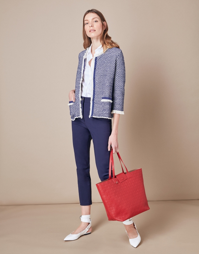 Short blue knit jacket