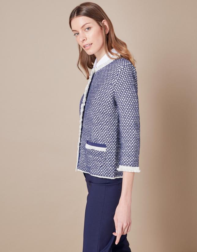 Short blue knit jacket