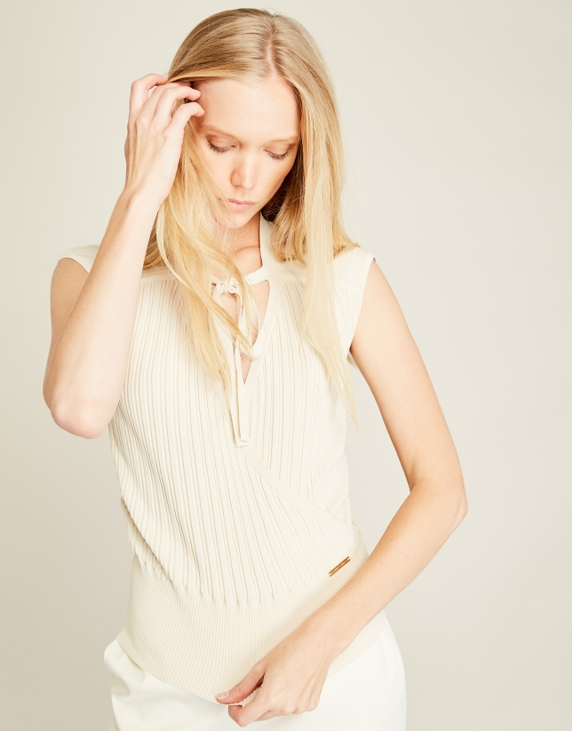 Beige, wrapped, ribbed top